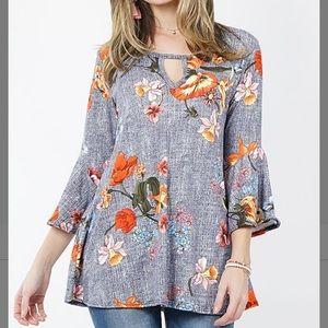 Navy Floral Cutout Bell-Sleeve Tunic, M